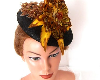 Georgious fascinator smartie victorian hat feathers blossom black yellow brown 7489