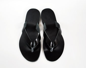 Black Mens Sandals, Leather Flip Flops, Mens Shoes