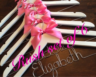 Rush set of 6/ Personalized Wedding Hanger/ Brides Hanger/ Bride/ Name Hanger/ Wedding Hanger/32 Ribbon Colors