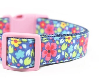 Pink Red Floral Dog Collar Girly Flower Blue Dog Collar - Hannah