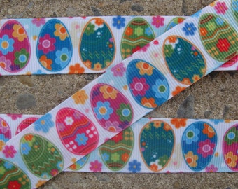 "Easter Ribbon Eggs Easter Printed Ribbon Easter Color Eggs Ribbon 7/8"" 3 yards Hair bow ribbon"