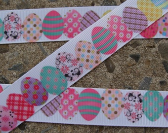 "Easter Ribbon Easter Eggs Ribbon Printed Ribbon Easter Color Eggs Ribbon 7/8"" 3 yards Hair bow ribbon #004"