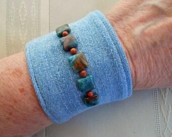 Denim Bracelet Cuff, natural stones and goldstone beads, stone wash jeans, upcyled vintage jewelry, denim cuff bracelet  153
