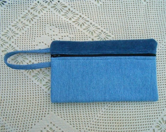 Corduroy and Denim Pencil case, upcycled denim jeans, handmade, wrist purse, cosmetic case, large wallet, art supply case, bank bag 167