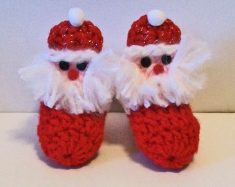 Adorable Hand Crocheted Baby Bootie Shoes Christmas Santa Claus Great Photo Prop Matching Hat & Bib Also Available