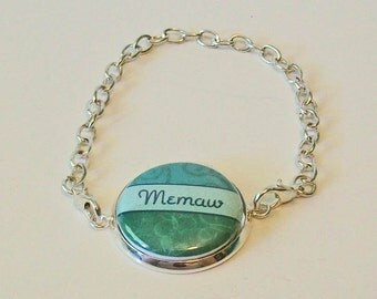 Teal Floral Memaw Grandmother Silver Chain Fashion Bracelet 3 Sizes Available