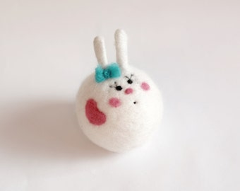 Love Bunny Toy  Needle Felted Wool Toy Bunny,  Wool Easter and Valentine's gift Woolen decoration rabbit