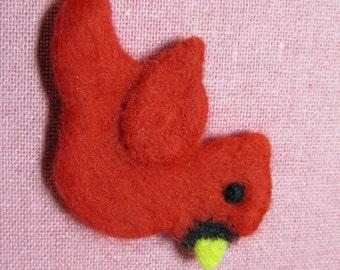 Needle Felted Cardinal Pin - Red Cardinal