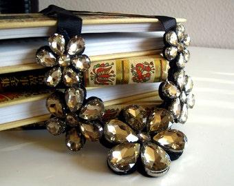 statement flower design necklace, glass, acrylic