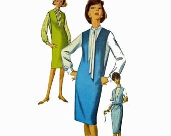 Vintage 60s Jumper Pattern / Womens Jumper Dress & Tie Collar Blouse Pattern / Slim Sheath Jumper Dress Pattern / Simplicity 542  Bust 32