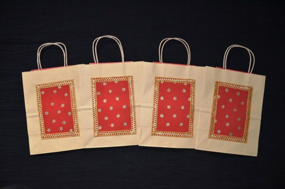 Send Wedding Gifts Online India: Gift Bags Indian Wedding Gift Bags Kraft Gift Bags Red Silk