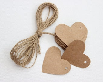 Kraft Card Heart Tags x 25 with 5 Metres of Jute Twine. Favour Tags - Wedding Favours - Scrapbooking.