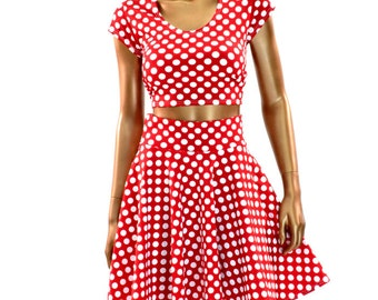 Red & White Pinup Polka Dot Crop Top and Circle Skirt Set  -150410