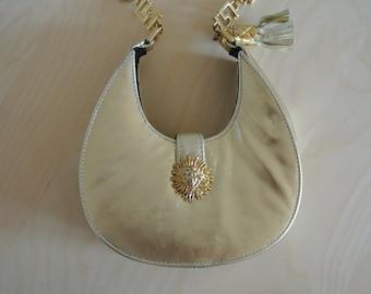 Medusa Head Handbag Shoulder Bag Gold Genuine Leather Chain Strap and Tassel