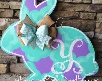 Easter door hanger, spring door hanger, bunny door hanger, easter wreath, spring door decor, easter door decor