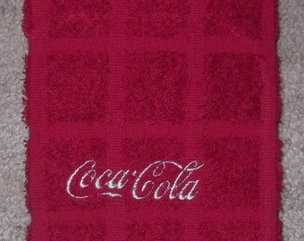 Embroidered ~COCA COLA~ Kitchen Hand Towel