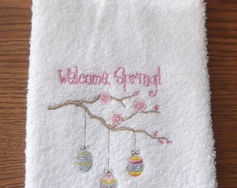 Embroidered ~WELCOME SPRING~ Kitchen Bath Hand Towel
