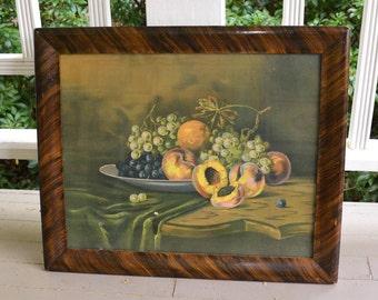 Vintage Still Life Print Framed Still Life Peaches and Grapes