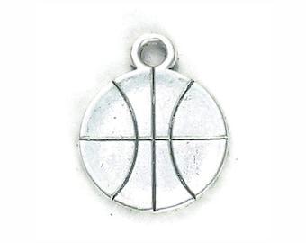 BULK 60 Silver Basketball Charm Pendant 18x14mm by TIJC SP0964B
