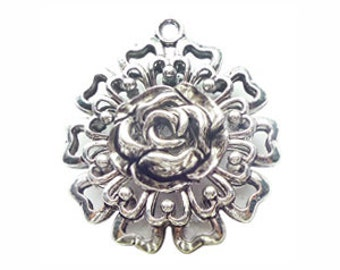 1 Silver Rose Pendant 63x58mm by TIJC SP0819