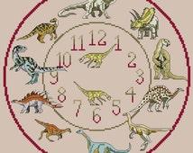 Dinosaur Cross Stitch Clock Chart / Pattern
