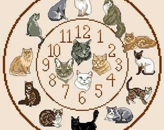 Cats Cross Stitch Clock Chart / Pattern