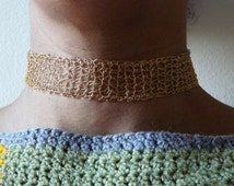 Gold plated crocheted choker /// handmade crocheted short gold necklace /// crochet necklace with golden wire thread ///