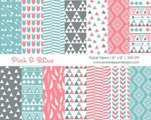 Tribal Digital Paper  - Pink & Blue Aztec Inspired Tribal Digital Paper for Photography, Background, etc | Commercial License Available.