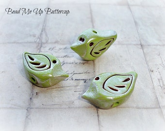 Rustic Woodland Dew Metallic Polymer Clay Bird