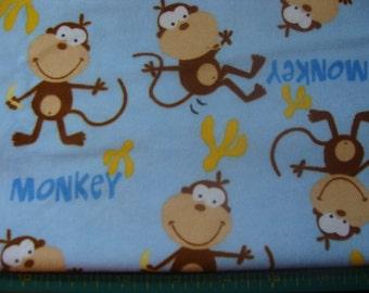 Brown Moneys on Light Blue Soft Cotton Flannel