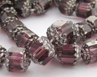 Amethyst with Silver 8mm Facet Barrel Cathedral Czech Glass Fire Polished Beads 20pc #2593