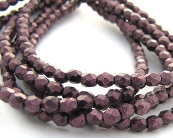 Metallic Suede Plum Rose 3mm Facet Round Czech Glass Fire Polished Beads 50pc #2656