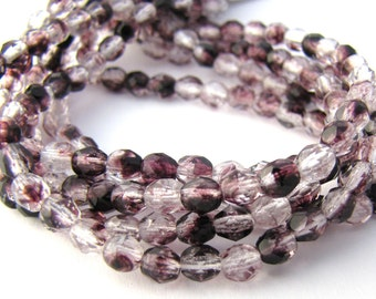 Icy Purple 4mm Facet Round Czech Glass Fire Polished Beads 50pc #2746