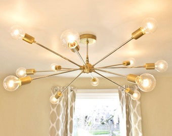 Brass Sputnik Chandelier: The Shepard: Modern Brass Sputnik Chandelier,Lighting
