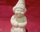 Cute Little Gnome Lady Kneeling *Ceramic Bisque*U-Paint Unpainted