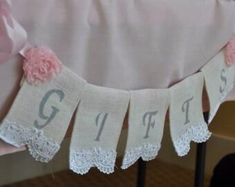 Gifts Burlap Lace  Banner, Wedding Decor, Bridal Shower Gift, Shabby Chic Bridal Decor,  Banner