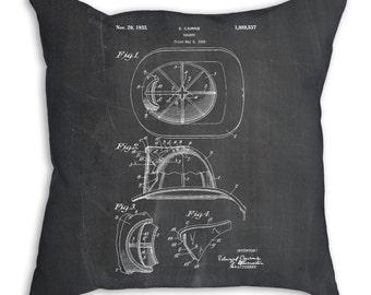 Fireman Cairns Helmet 1931 Patent Pillow, Fireman Nursery, Firefighter Home Decor, Fireman Hat, Firefighter Bedding, PP0030