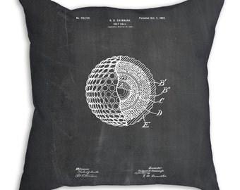 Golf Ball 1902 Patent Pillow, Golf Throw Pillow, Golf Gifts for Women, Golf Bedding, Golf Art, PP0042