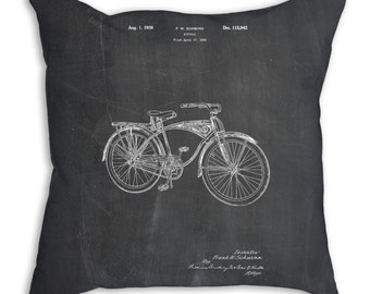 Pillow, Bike Pillow, Bicycle Throw Pillow, Cycling Gift, Bicycle Bedding, Bicycle Decor, Bike Patent, PP0446