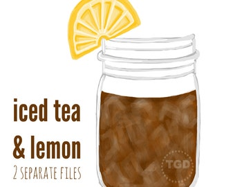 Iced Tea Mason Jar Clip Art - Mason jar with lemon, Invitation, Paper Goods Clip Art, Mason Jar printable