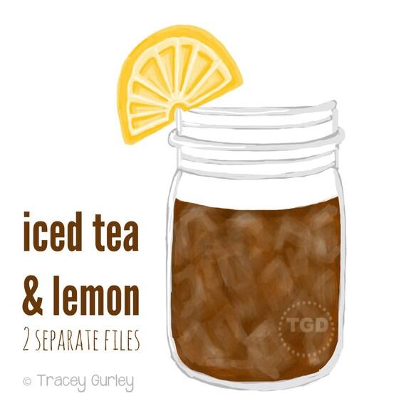 Iced Tea Mason Jar Clip Art Mason jar with by TraceyGurleyDesigns