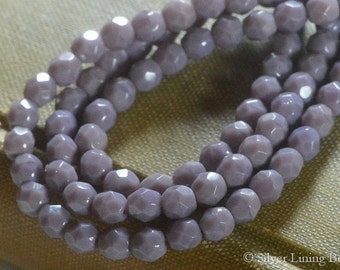 Muted Lavender Bits (50) - Firepolished Czech Glass Bead - 4mm - Faceted Round