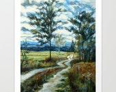 Landscape Fine Art Print, Art Print, Acrylic and Mixed Media Giclée Print, Choose Size, Free Shipping