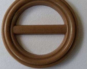 Retro biscuit coloured plastic circular buckle
