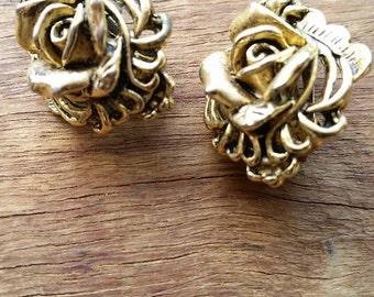 Vintage rose goldtone clip on earrings