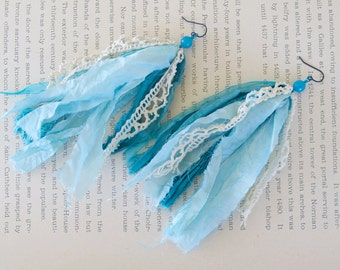 Blue Sari Silk Earrings with Agate and Vintage Lace