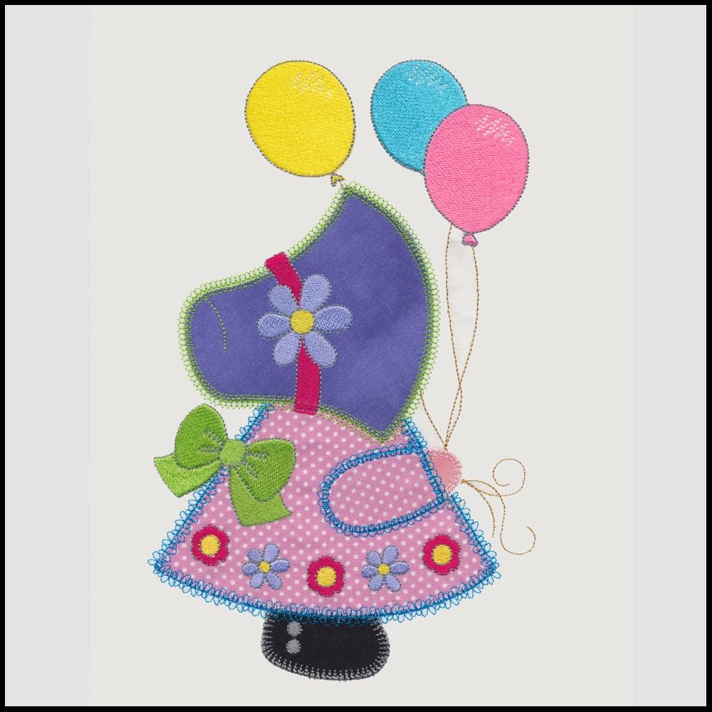 Balloon sunbonnet sue applique machine embroidery design for Appliques design