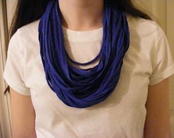 Blue Tee Shirt Scarf, Jersey Tee Circle Scarf, Infinity Scarf, Summer Scarf