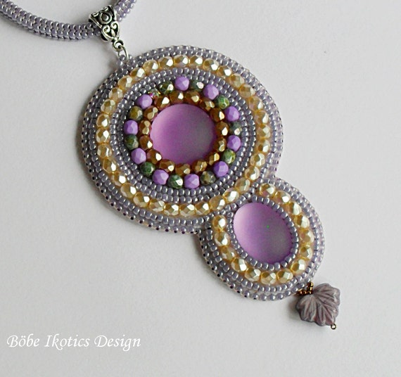 Items similar to bead embroidery necklace handmade