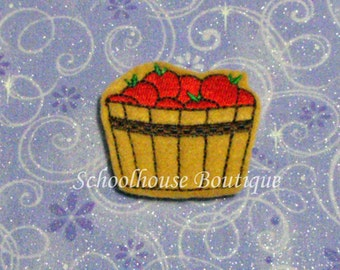 Basket of Apples felties, feltie, machine embroidered, felt applique, felt embellishment, hair bow supplies
